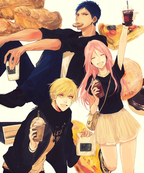 Tags: Anime, KRN (Pixiv6924601), Kuroko no Basuke, Aomine Daiki, Kise Ryouta, Momoi Satsuki, Yellow Skirt, Pixiv, Fanart, Fanart From Pixiv, Kuroko's Basketball