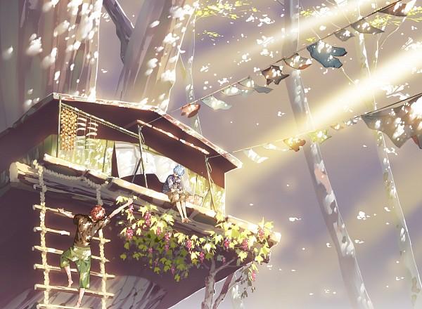 Tags: Anime, Hana (Pixiv63727), Kuroko no Basuke, Tetsuya No.2, Kagami Taiga, Kuroko Tetsuya, Treehouse, Laundry, Fanart From Pixiv, Fanart, PNG Conversion, Pixiv, Kuroko's Basketball