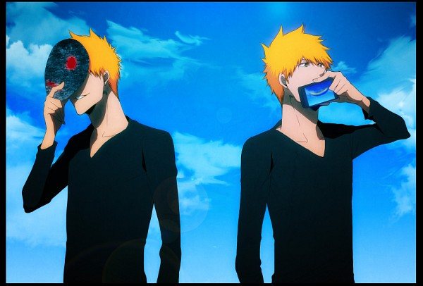 Tags: Anime, Pixiv Id 961410, BLEACH, Kurosaki Ichigo, Covering Face, Half Mask, Smiley Face, Fanart, Mask (Song), Pixiv, Ichigo Kurosaki