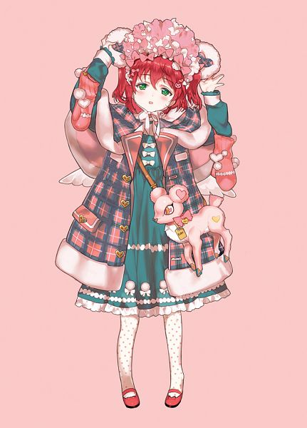 Tags: Anime, Kissai, Love Live! Sunshine!!, Kurosawa Ruby, Spotted Legwear, Revision, Mobile Wallpaper, Fanart From Pixiv, Pixiv, Fanart