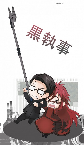 Tags: Anime, Dantex1921, Kuroshitsuji, Grell Sutcliff, William T. Spears, Mobile Wallpaper, Fanart, Black Butler