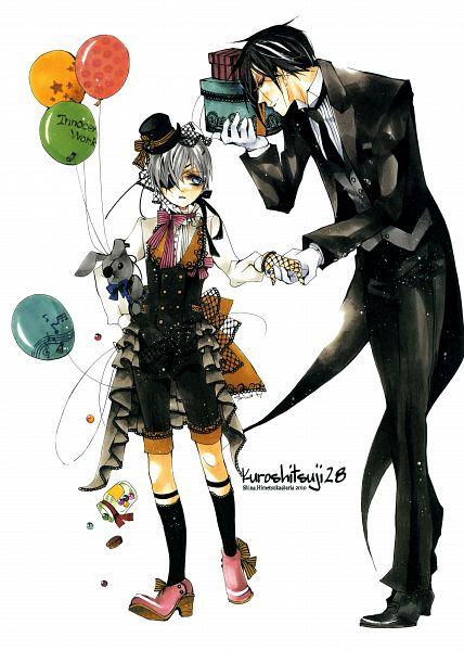 Tags: Anime, Shina Himetsuka, Kuroshitsuji, Ciel Phantomhive, Sebastian Michaelis, Scan, Mobile Wallpaper, Fanart, Black Butler