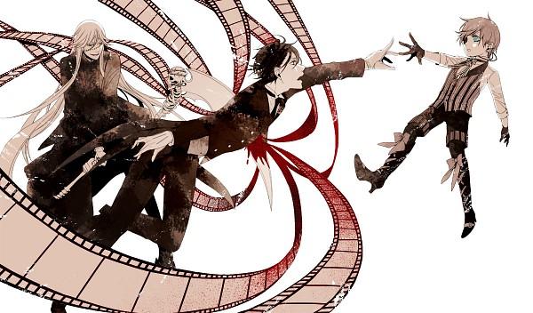Tags: Anime, Sakurana, Kuroshitsuji, Ciel Phantomhive, Sebastian Michaelis, Undertaker, Filmstrip, Run Through, Pixiv, Fanart, Black Butler