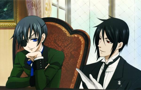 Tags: Anime, A-1 Pictures, Kuroshitsuji, Ciel Phantomhive, Sebastian Michaelis, HD Wallpaper, Scan, Wallpaper, Official Art, Black Butler