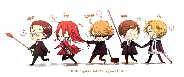 Tags: Anime, Arielucia, Kuroshitsuji, William T. Spears, Alan Humphries, Grell Sutcliff, Eric Slingby, Ronald Knox, Chainsaw, Fanart, Fanart From DeviantART, deviantART, Facebook Cover, Black Butler