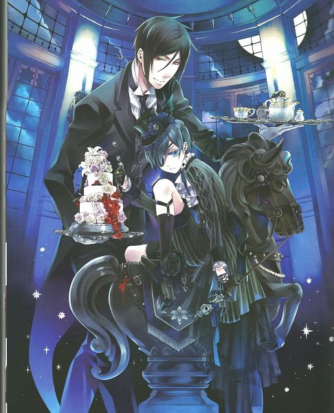 Tags: Anime, Toboso Yana, Kuroshitsuji, Black Butler Artworks 1, Ciel Phantomhive, Sebastian Michaelis, Scan, Official Art, Black Butler