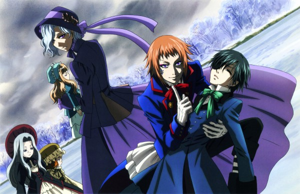 Tags: Anime, Toboso Yana, Kuroshitsuji, Ciel Phantomhive, Queen Victoria (Kuroshitsuji), Angela/Ash, Drocell Cainz, Official Art, Scan, Black Butler