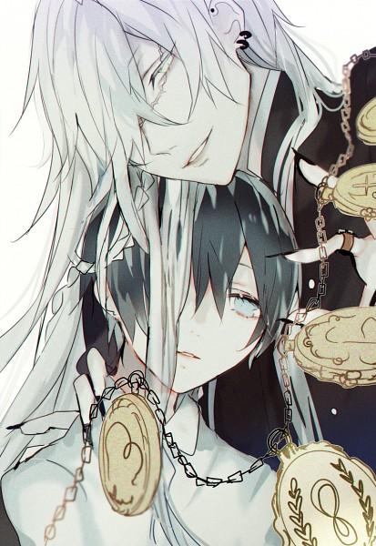 Tags: Anime, Pixiv Id 4359805, Kuroshitsuji, Undertaker, Ciel Phantomhive, PNG Conversion, Fanart, Pixiv, Mobile Wallpaper, Fanart From Pixiv, Black Butler