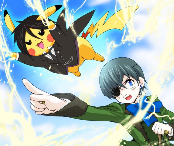 Tags: Anime, Pixiv Id 22067, Kuroshitsuji, Ciel Phantomhive, Sebastian Michaelis, Pikachu, Pokémon (Parody), Pixiv, Fanart From Pixiv, Fanart, Black Butler