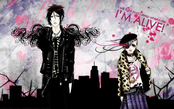 Tags: Anime, Kuroshitsuji, Ciel Phantomhive, Sebastian Michaelis, Lyrics, Leather Clothes, 1440x900 Wallpaper, Fanmade Wallpaper, Edited, Wallpaper, Black Butler