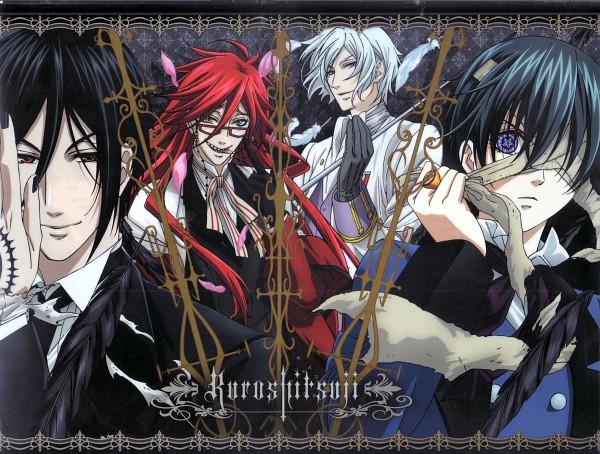 Tags: Anime, A-1 Pictures, Kuroshitsuji, Grell Sutcliff, Ciel Phantomhive, Sebastian Michaelis, Ash Landers, Angela/Ash, Official Art, Scan, Black Butler