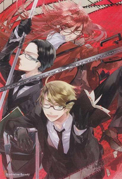 Tags: Anime, Kazuaki, Kuroshitsuji, William T. Spears, Grell Sutcliff, Ronald Knox, Chainsaw, Mobile Wallpaper, Scan, Black Butler