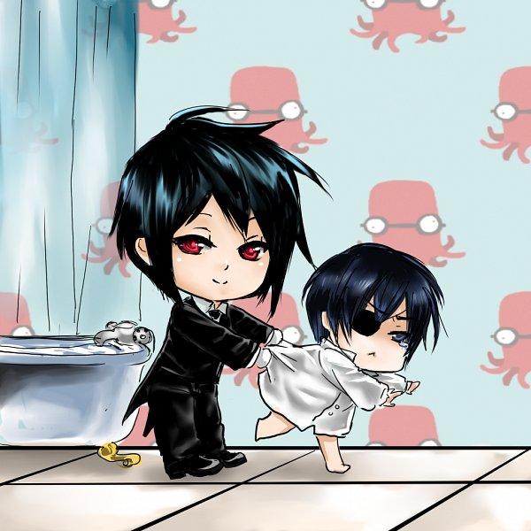 Tags: Anime, Shrimpheby, Kuroshitsuji, Sebastian Michaelis, Ciel Phantomhive, Bathroom, Grabbing Shirt, Bathtub, Fanart, deviantART, Fanart From DeviantART, Black Butler