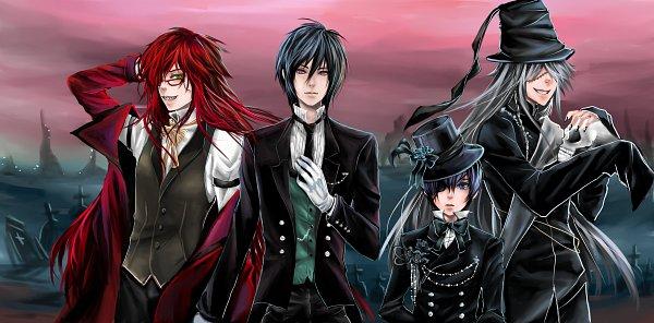 Tags: Anime, Shrimpheby, Kuroshitsuji, Sebastian Michaelis, Undertaker, Grell Sutcliff, Ciel Phantomhive, Graveyard, Facebook Cover, Fanart, Fanart From DeviantART, deviantART, Black Butler