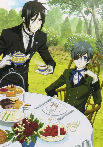 Tags: Anime, Shiba Minako, SQUARE ENIX, Kuroshitsuji, Ciel Phantomhive, Sebastian Michaelis, Garden, Mobile Wallpaper, Scan, Official Art, Black Butler