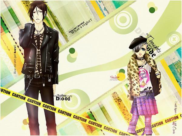 Tags: Anime, NANA (Series), Kuroshitsuji, Ciel Phantomhive, Sebastian Michaelis, Leather Jacket, Lyrics, Edited, Wallpaper, Fanmade Wallpaper, Paramore, Black Butler