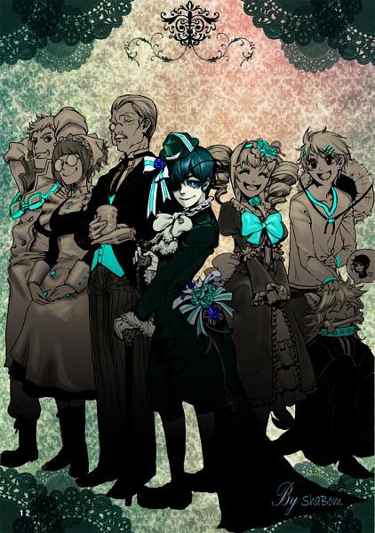 Tags: Anime, pt0317, Kuroshitsuji, Pluto (Kuroshitsuji), Mey-Rin, Elizabeth Ethel Cordelia Midford, Finnian, Tanaka, Ciel Phantomhive, Bardroy, Chef Uniform, Pet, Tailcoat, Black Butler