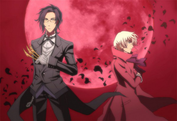 Tags: Anime, Xaikra (Artist), Kuroshitsuji, Alois Trancy, Claude Faustus, Red Moon, Tailcoat, Fanart, Black Butler
