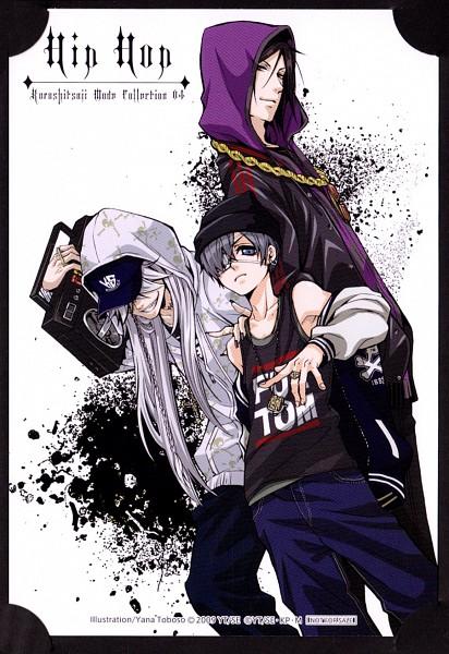 Tags: Anime, Toboso Yana, SQUARE ENIX, Kuroshitsuji, Undertaker, Ciel Phantomhive, Sebastian Michaelis, Radio, Hipster, Contemporary, Mobile Wallpaper, Official Art, Scan, Black Butler