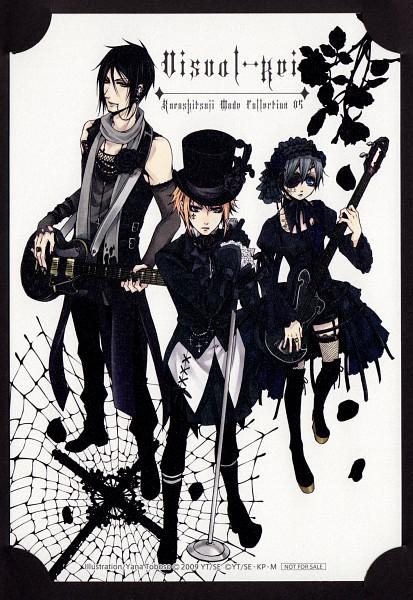 Tags: Anime, SQUARE ENIX, Kuroshitsuji, Drocell Cainz, Ciel Phantomhive, Sebastian Michaelis, Kodona, Gothic Outfit, Scan, Official Art, Mobile Wallpaper, Black Butler