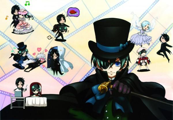Tags: Anime, Kuroshitsuji, Ciel Phantomhive, Sebastian Michaelis, Angela/Ash, Pluto (Kuroshitsuji), Lady Phantomhive, Meat, Wig, Filmstrip, Official Art, Black Butler
