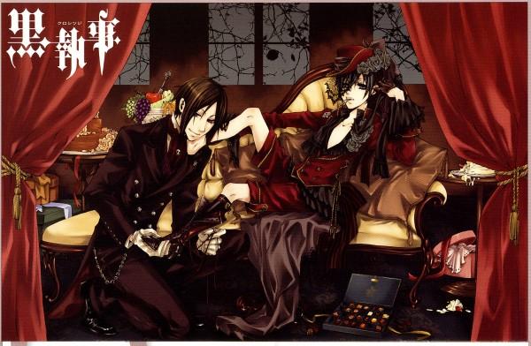 Tags: Anime, Toboso Yana, SQUARE ENIX, Kuroshitsuji, Ciel Phantomhive, Sebastian Michaelis, Tailcoat, Scan, Official Art, Black Butler