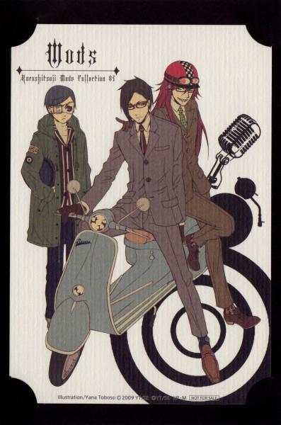 Tags: Anime, Toboso Yana, Kuroshitsuji, Grell Sutcliff, Ciel Phantomhive, Sebastian Michaelis, Shinigami, Contemporary, Motorcycle Helmet, Scooter, Mobile Wallpaper, Official Art, Black Butler