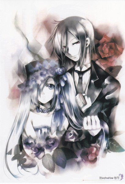 Tags: Anime, KEI (Pixiv4088), Kuroshitsuji, Ciel Phantomhive, Sebastian Michaelis, Lady Phantomhive, Mobile Wallpaper, Pixiv, Black Butler