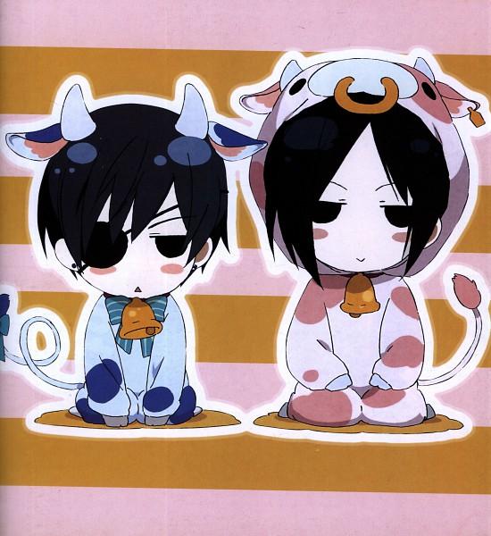 Tags: Anime, Kuroshitsuji, Sebastian Michaelis, Ciel Phantomhive, Ushimimi, Cowbell, Cow Tail, Cow Print, Cow Costume, :>, Official Art, Scan, Black Butler