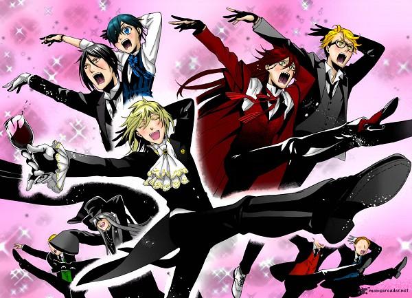 Tags: Anime, Kuroshitsuji, Aleister Chamber, Sebastian Michaelis, Ronald Knox, Undertaker, Grell Sutcliff, Ciel Phantomhive, Colorization, Black Butler