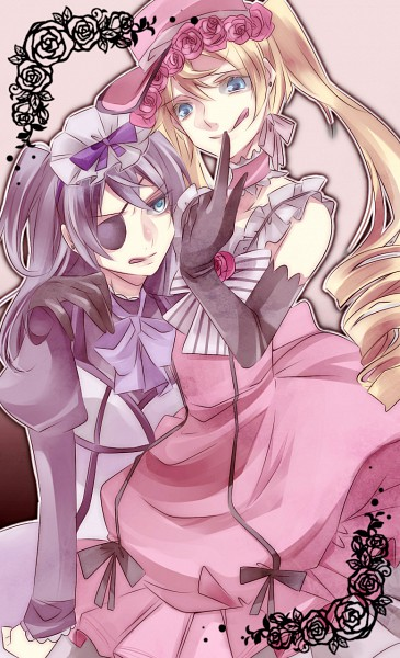 Tags: Anime, Hoe Satsuki, Kuroshitsuji, Ciel Phantomhive, Alois Trancy, Lady Alois Trancy, Lady Phantomhive, Wig, Glaring, Mobile Wallpaper, Black Butler