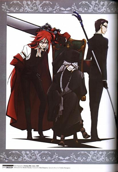 Tags: Anime, Harada Hiroki, Kuroshitsuji, Grell Sutcliff, William T. Spears, Undertaker, Official Art, Scan, Photograph (Source), Mobile Wallpaper, Black Butler