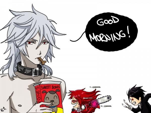 Tags: Anime, Rizaturker, Kuroshitsuji, Grell Sutcliff, Sebastian Michaelis, Pluto (Kuroshitsuji), Text: Good Morning, Sketch, Self Made, Black Butler