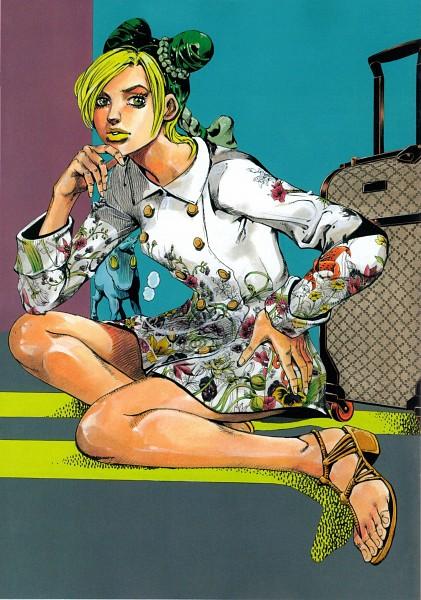 Tags: Anime, Araki Hirohiko, JoJo no Kimyou na Bouken, Stone Ocean, Kuujou Jolyne, Yellow Lips, Suitcase, Scan, Mobile Wallpaper, Official Art