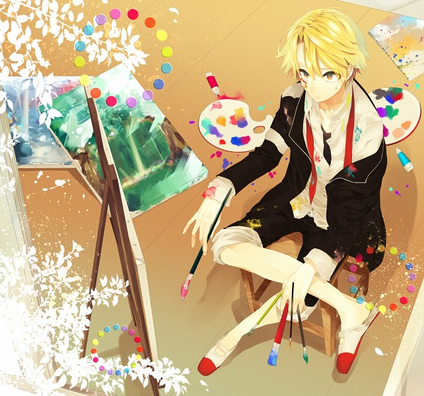 Tags: Anime, Kyama, Mikagura Gakuen Kumikyoku, Kuzuryu Kyoma, Observing, Paint Tube, Painting (Object), Painting (Action), Dirt, Palette (Object), Pixiv