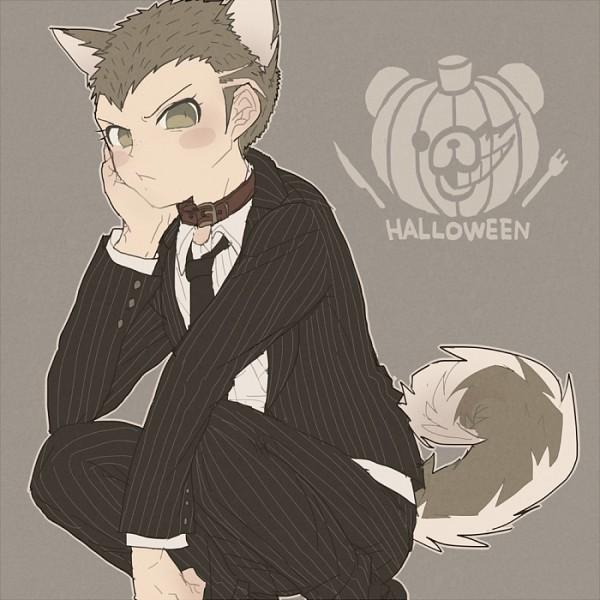 Tags: Anime, Pixiv Id 2400744, Super Danganronpa 2, Kuzuryuu Fuyuhiko, Striped Pants, Text: Halloween, Striped Jacket, Fanart From Pixiv, Pixiv, Fanart