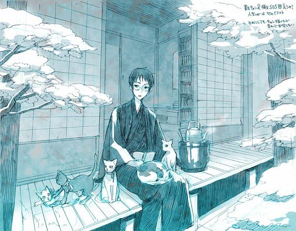 Tags: Anime, 00111 (Artist), Suzumiya Haruhi no Yuuutsu, Kyon, Shamisen (Suzumiya Haruhi), Porch, Animal on Lap, Fanart, Pixiv