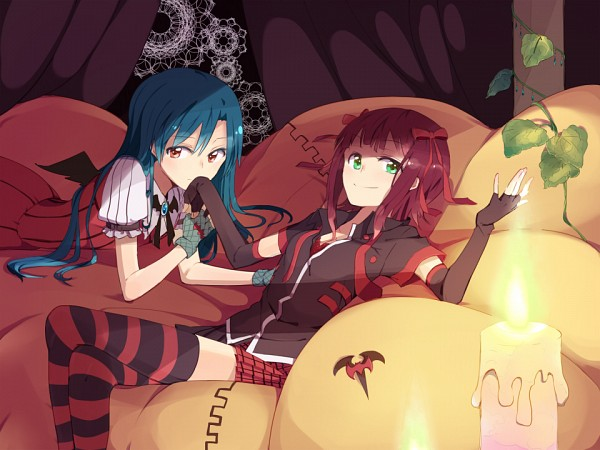 Tags: Anime, sou (Pixiv2760884), THE iDOLM@STER, Kisaragi Chihaya, Amami Haruka, Fanart, Pixiv, Kyun! Vampire Girl, Fanart From Pixiv