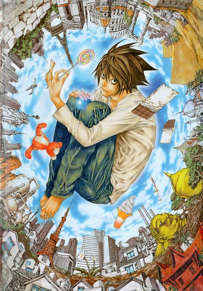 Tags: Anime, Obata Takeshi, DEATH NOTE, L Lawliet, Pyramid, Eiffel Tower, Art Nouveau, Statue of Liberty, Bags Under Eyes, Chocolate Bar, Fetal Position, Colosseum, Mobile Wallpaper