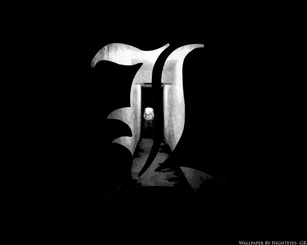 Tags: Anime, DEATH NOTE, L Lawliet, Black, Wallpaper, Fanmade Wallpaper, Edited