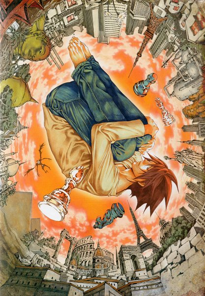 Tags: Anime, Obata Takeshi, MADHOUSE, DEATH NOTE, Ryuk, L Lawliet, Fetal Position, Chess, Pyramid, Colosseum, Art Nouveau, Eiffel Tower, Statue of Liberty