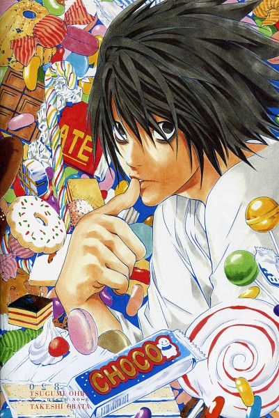 Tags: Anime, Obata Takeshi, DEATH NOTE, L Lawliet, Canelé, Candy Cane, Bags Under Eyes, Sprinkles, Mobile Wallpaper, Scan, Official Art