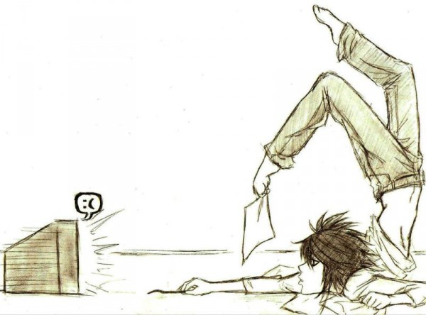 Tags: Anime, DEATH NOTE, L Lawliet, Emote, Leg in Air, Watching TV, Artist Request