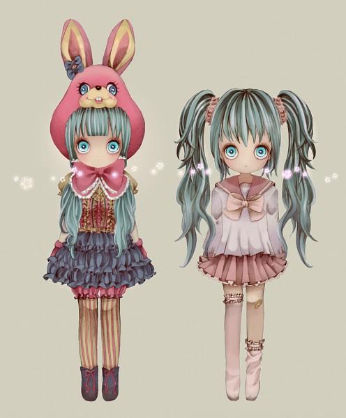 Tags: Anime, Pixiv Id 840046, VOCALOID, Hatsune Miku, Bunny Hat, Pixiv, Fanart From Pixiv, Fanart, LOL -lots of laugh-