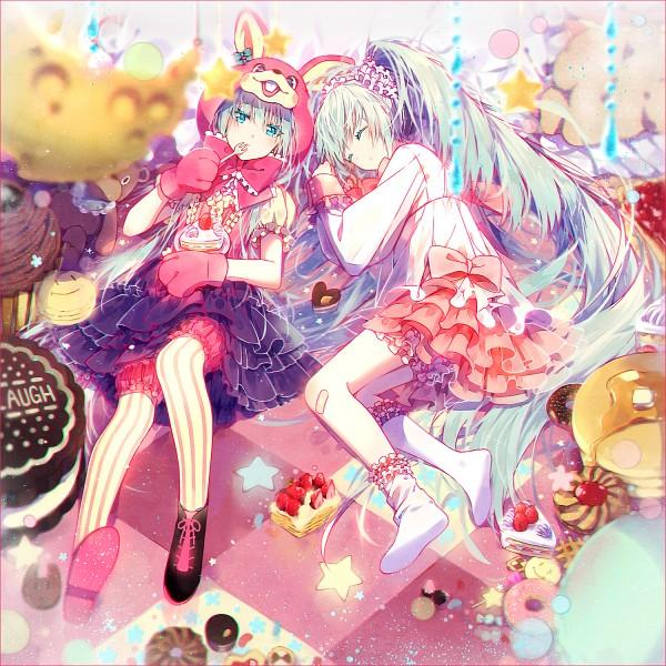 Tags: Anime, hakusai, Project DIVA Arcade Future Tone, VOCALOID, Hatsune Miku, Jelly Beans, Strawberry Shortcake, Project DIVA March Hirano, LOL -lots of laugh-, Fanart, Pixiv, Fanart From Pixiv