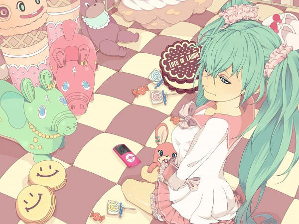 Tags: Anime, nayu, VOCALOID, Hatsune Miku, Piggy, Smiley Face, LOL -lots of laugh-, Pixiv
