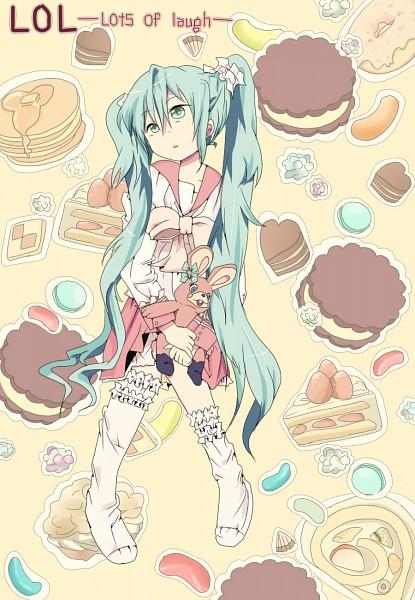 Tags: Anime, Remimim, VOCALOID, Hatsune Miku, Swiss Roll, Strawberry Shortcake, Jelly Beans, Pancakes, LOL -lots of laugh-, Mobile Wallpaper, Fanart, Pixiv