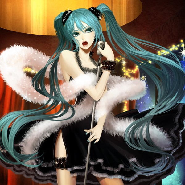 Tags: Anime, Suda Ayaka, VOCALOID, Hatsune Miku, Boa, Gown, Fanart, Lady In The Singing Room, Pixiv, Tumblr, Fanart From Pixiv