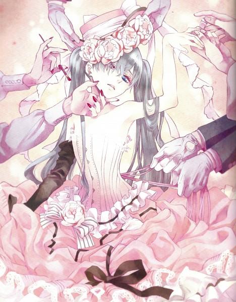 Tags: Anime, Toboso Yana, Kuroshitsuji, Lady Phantomhive, Ciel Phantomhive, Wig, Official Art, Scan