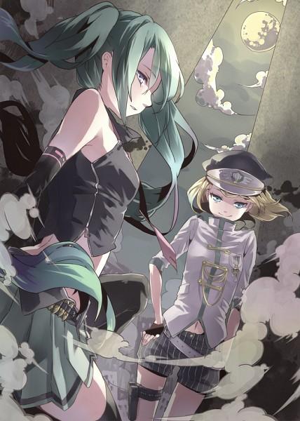 Tags: Anime, Buuta, VOCALOID, Kagamine Rin, Hatsune Miku, Last Battle, Song-Over, Mobile Wallpaper